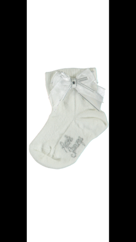 Piccola speranza white sparkle ribbon bow socks