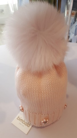 Pink bimbalo single pom hat with pearls flowers