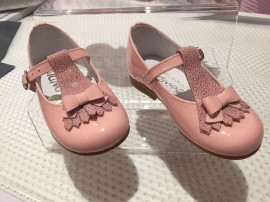 Pink Patent T Bar Studded Shoes