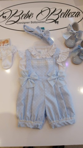 Pretty Originals Blue spotted dungarees set