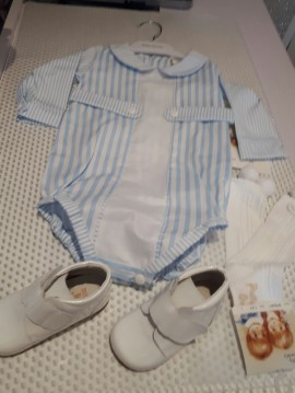 Pretty Originals Boys Baby Blue Striped Romper