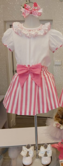 Pretty originals pink & white striped skirt set