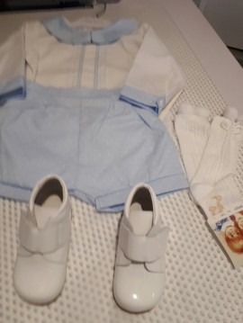 Pretty Originals White Shirt with Blue Spotted Shorts