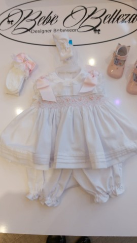 Pretty originals white smocked dress with bloomers