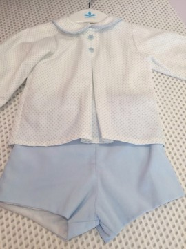 Sardon Boys White Shirt and Blue Shorts Set