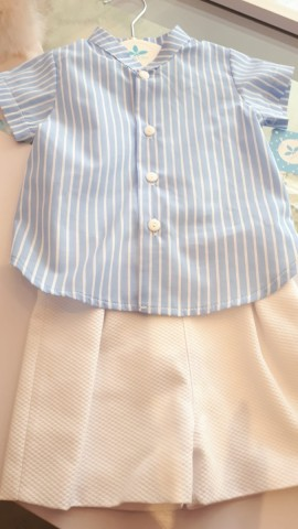 Sardon boys white shorts & blue & white striped shirt sleeved shirt